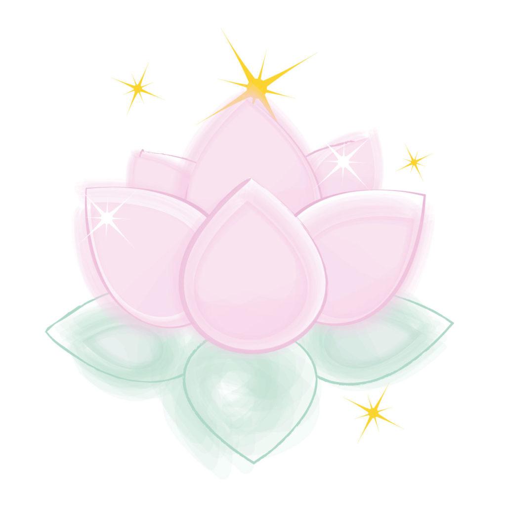 logo fleur de lotus et etincelles focus